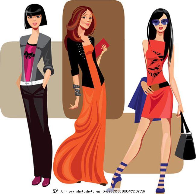 彩绘卡通美女04-矢量素材免费下载 长发美女 都市 花纹 卡通美女 美女