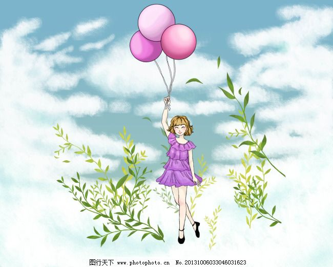手绘气球美女