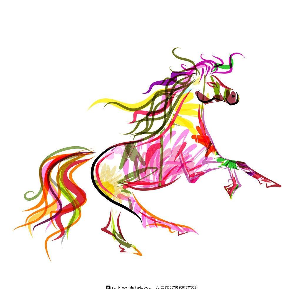 手绘马 手绘骏马 手绘素描动物 手绘 彩绘 花卉 素描 复古 素描马 马