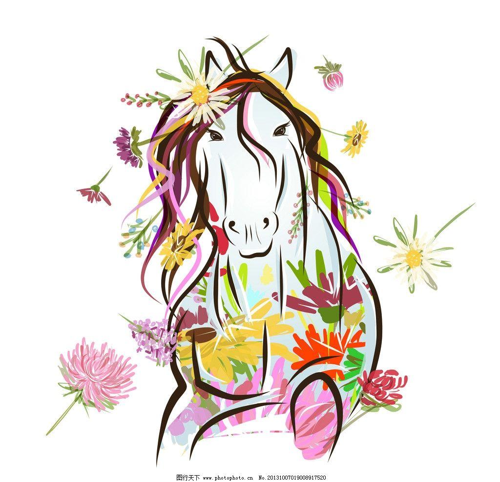 手绘骏马 手绘马 手绘素描动物 花卉 复古 素描马 生物世界 野生动物