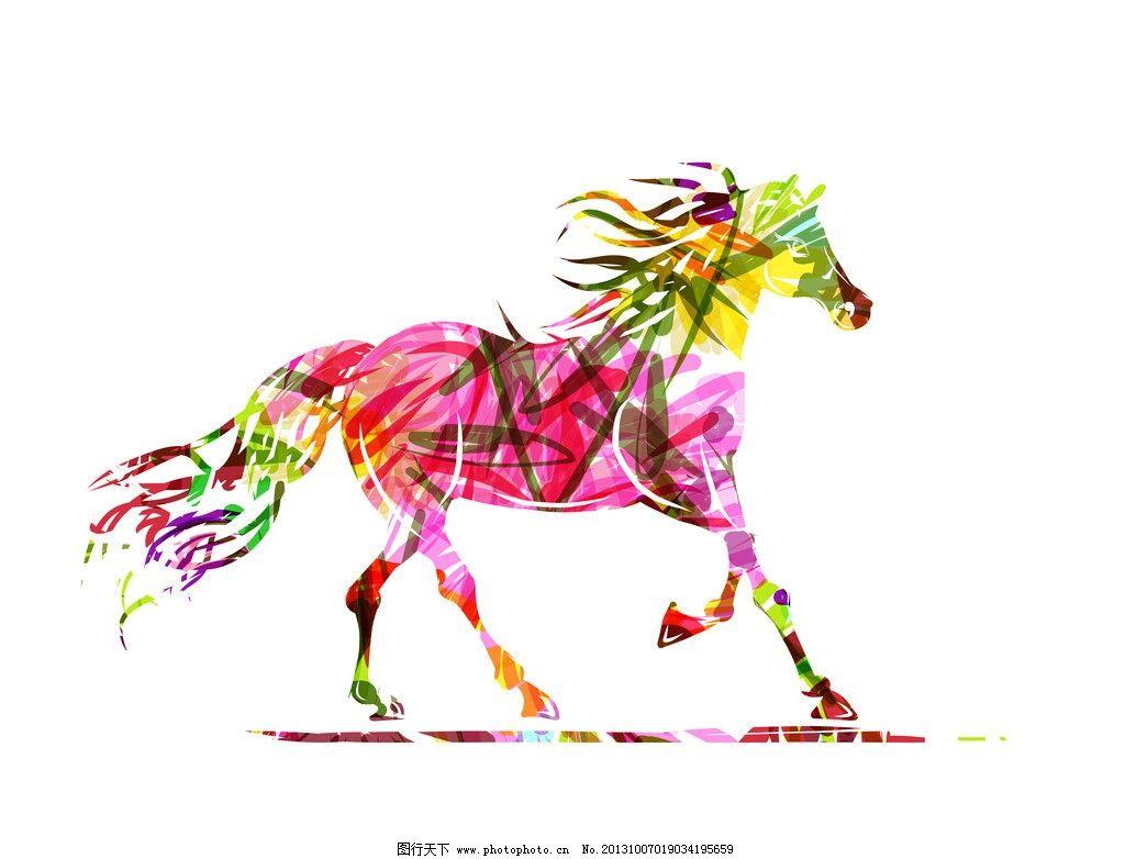 手绘马 手 手绘骏马 手绘素描动物 彩绘 花卉 复古 素描马 生物世界