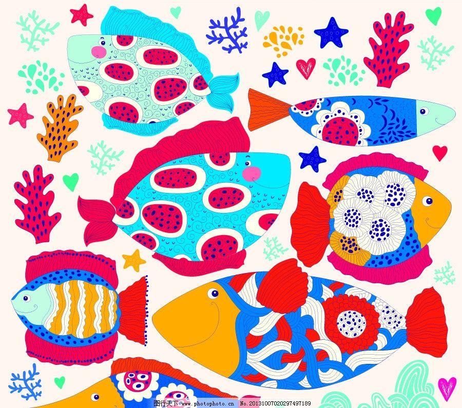 卡通背景 可爱卡通背景 花卉花纹 插画 花卉 小鱼 海洋生物 背景画 卡