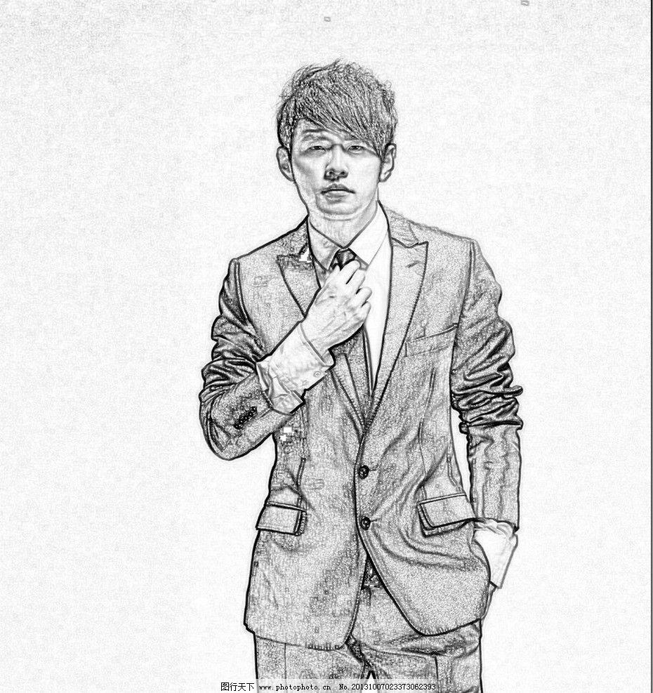 周杰伦写真 明星偶像 个人写真 线条素描 演唱会 人物图库