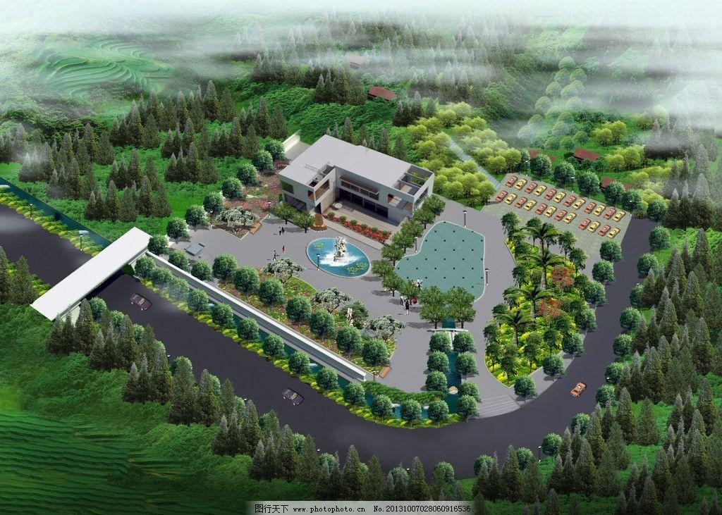 建筑鸟瞰图 鸟瞰图 山地 乡村 绿化 水池 停车场 建筑设计 环境设计