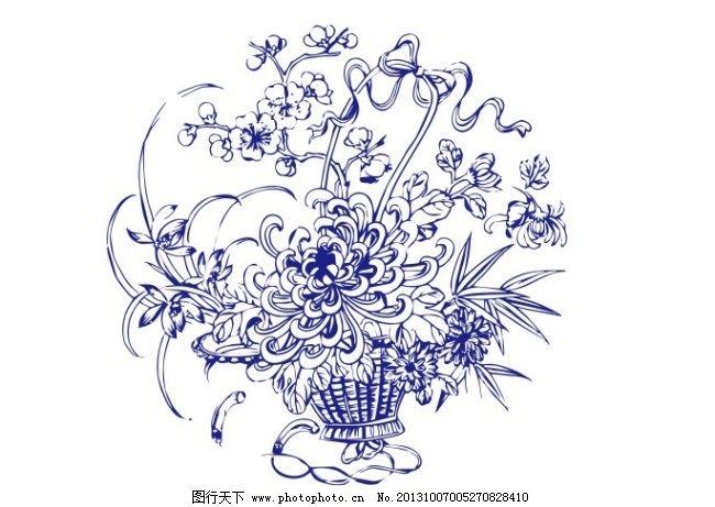 插画 底纹 花边 青花瓷 插画 底纹 青花瓷 花边 瓷器图案 矢量图 花纹