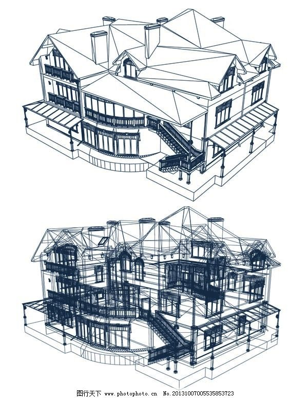 独栋建筑绘制图免费下载 建筑绘制 房屋透视 透立体绘制图 矢量图