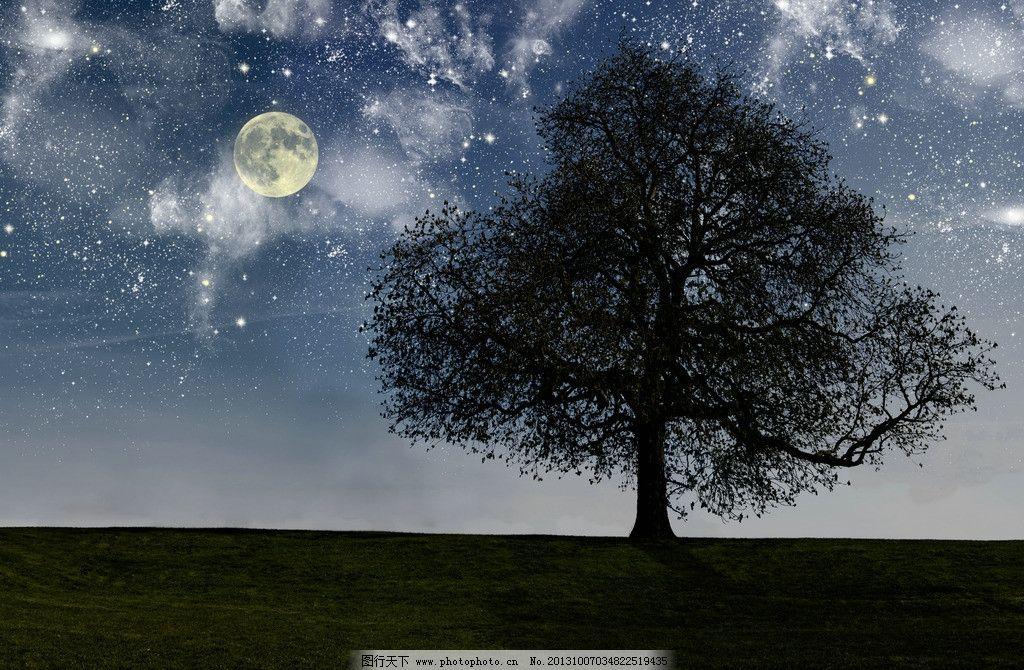 星空月夜 月亮 星空 夜空