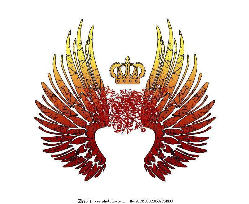 皇冠 翅膀 图腾 花纹 华丽 哥特 红 橙 条纹线条 底纹边框 矢量 ai
