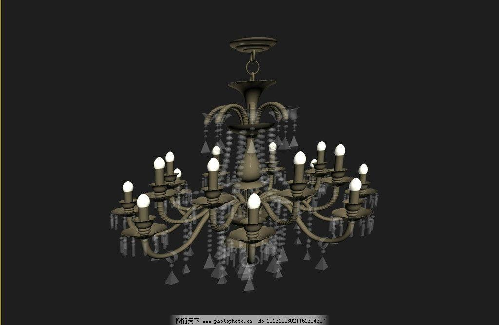 工艺品模型 艺术品模型 室内模型 软装 软装模型 吊灯 吊灯模型 欧式