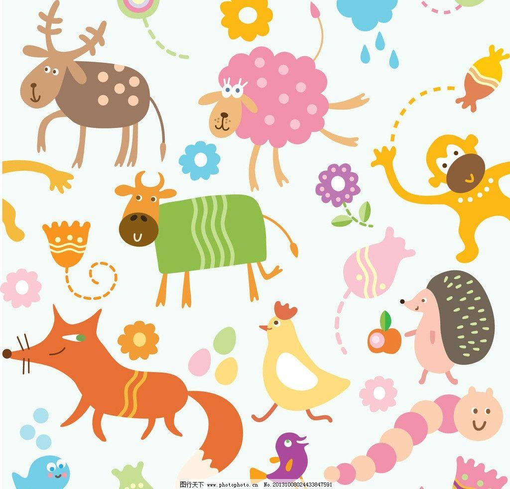 卡通 动物图片,儿童 植物 矢量图形 底纹 背景-图行