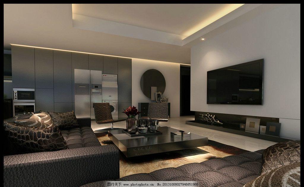 室内设计效果图 室内 设计        3d      简约 沙发 电视机 室内