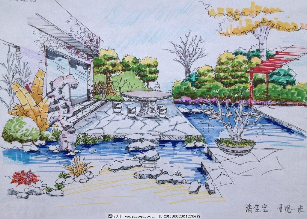 手绘景观 手绘 效果 庭院 景观 临摹 马克笔 景观设计 环境设计 设计