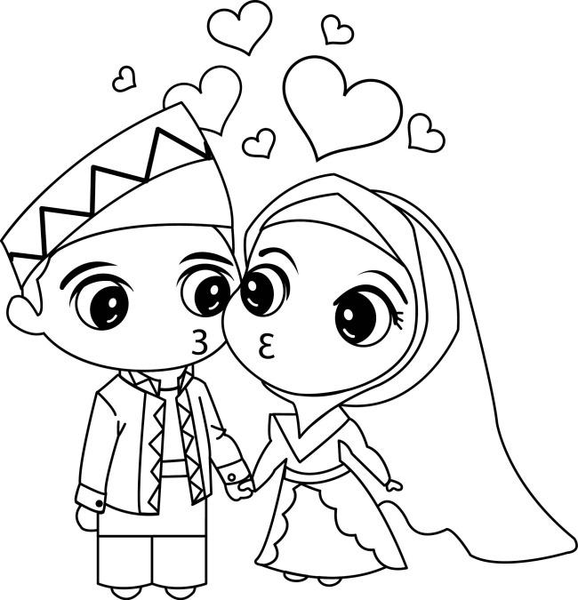结婚 传统服 可爱 卡通