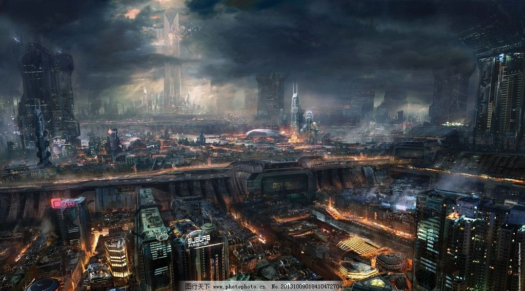 未来城市 未来设计 幻想 手绘 科幻世界 鼠绘 数字绘画 城市 风景漫画