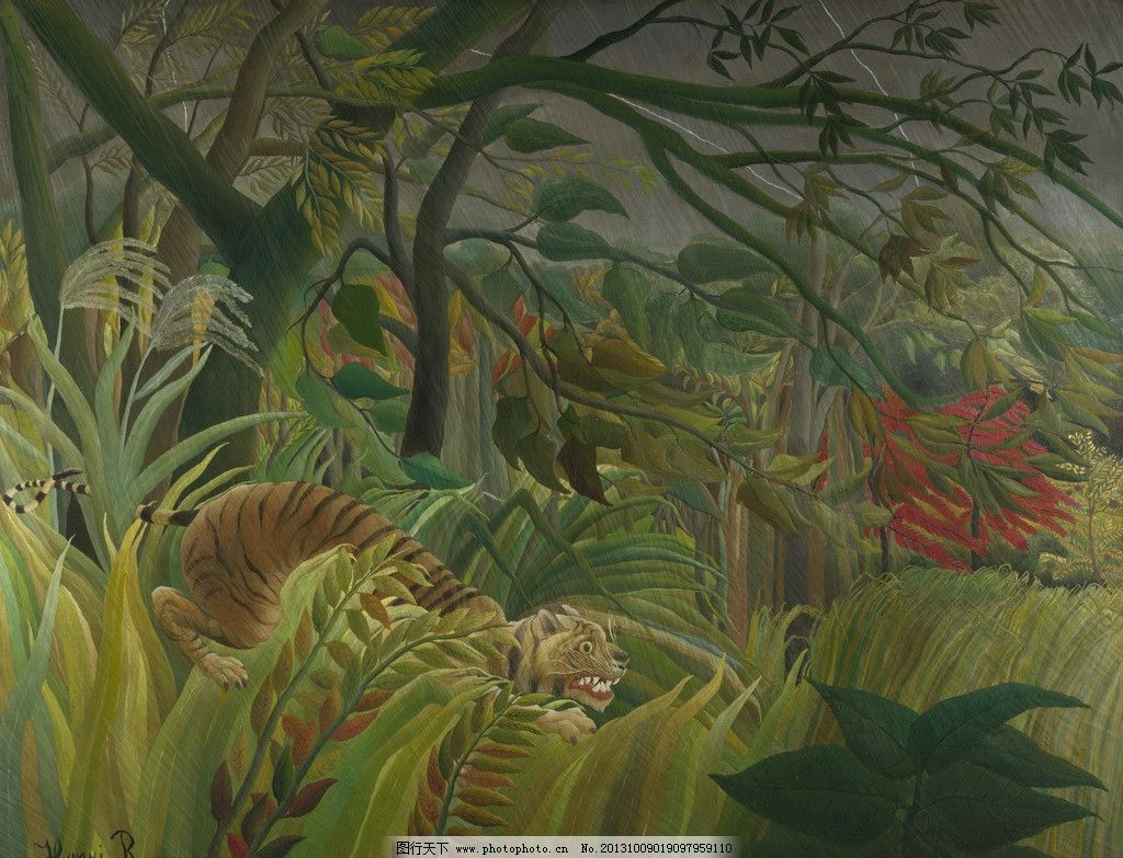 风景油画 油画作品 著名油画 世界名画 国外油画 西方古典油画 油画 艺术 动物艺术 森林 闪电 霹雳 暴风 虎 亨利卢梭 朴素艺术 国家美术馆 后印象派 亨利·卢梭 绘画书法 文化艺术 设计 72DPI JPG