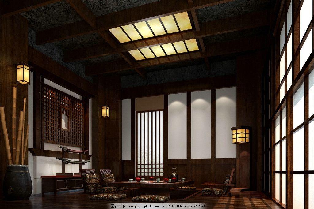 日式茶室 中式茶室效果图 模型 室内模型 室内效果图 室内设计