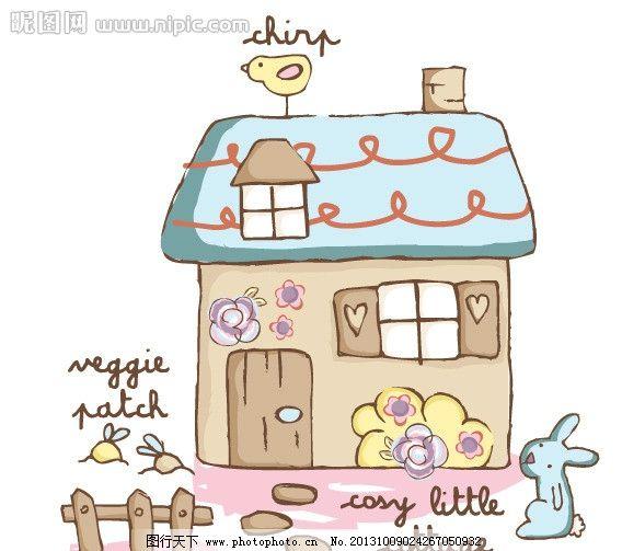 房子 卡通插画 卡通画 小兔子 小鸟 篱笆 风景 卡通插画矢量