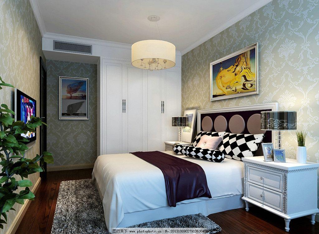 床 床铺 地毯 床头柜 吊灯 电视 木地板 橱柜 家装效果图 室内图片