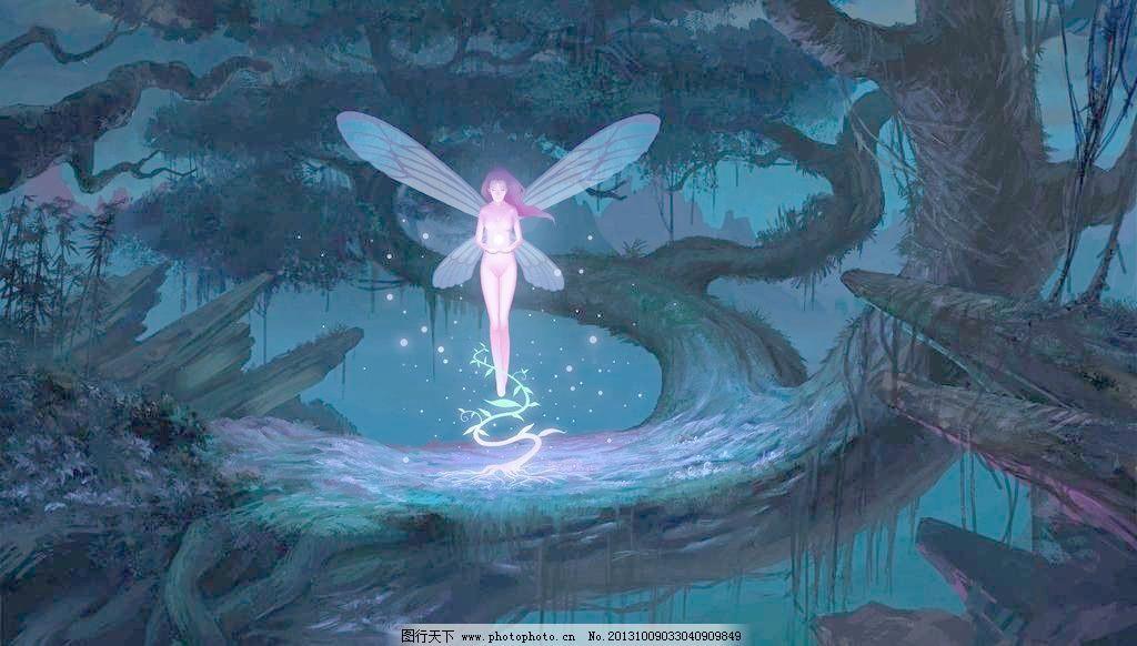 手绘人物壁纸 精灵 古树 翅膀 蝴蝶 手绘 数字绘画 动漫壁纸 动漫人物