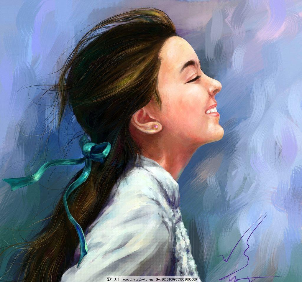 手绘美女 cg画 电脑手绘 油画 水粉 水彩 电脑画 微笑 长发美女