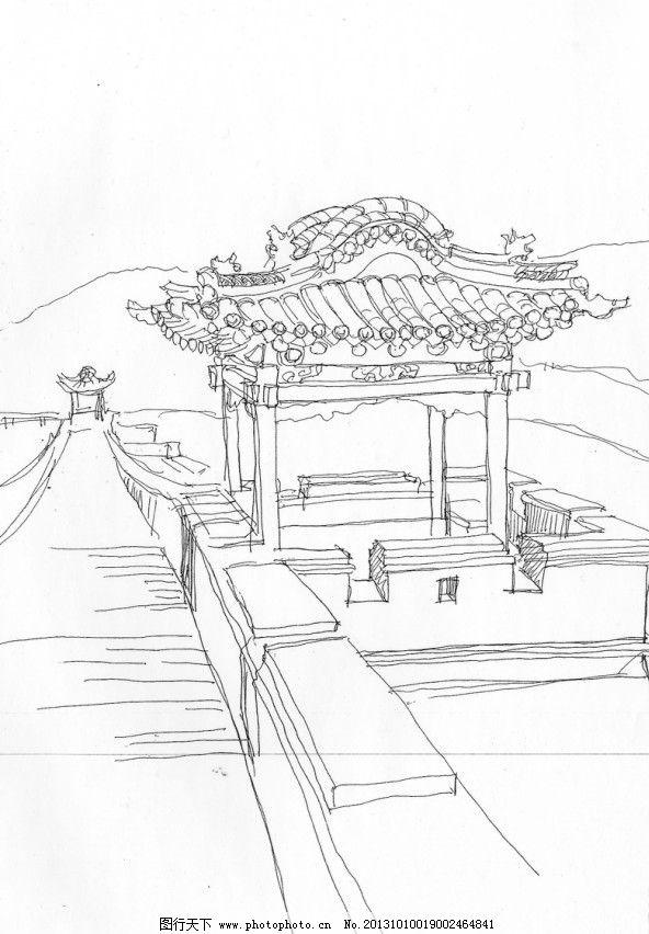 王家大院 角楼 手绘 钢笔建筑 风景 古建 速写 绘画书法 文化艺术