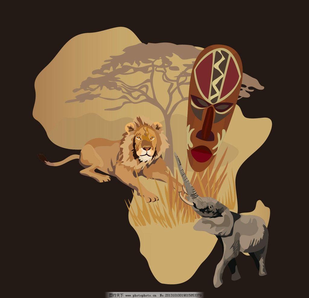 动物 野生 野生动物 狮子 大象 面具 植物 美术绘画 文化艺术 矢量 ai