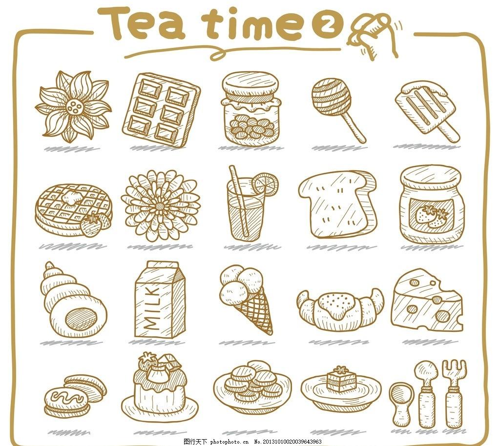 手绘食品图标 涂鸦 草图 线描 黑白 单色 甜食 甜点 纸杯 蛋糕