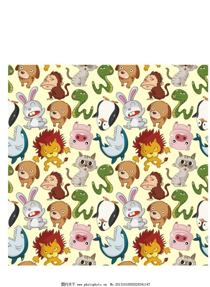 卡通动物 蛇 兔子 狮子 小猴子 小猫 小猪 海豚 动物园 卡通 儿童画