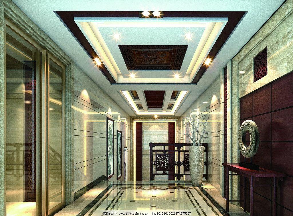 门厅 过道 办公室 墙砖 公装效果图 室内设计