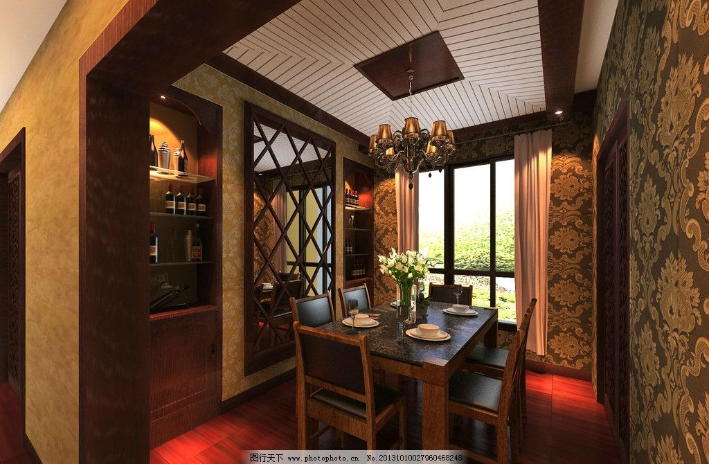 餐厅 餐桌 椅子 玻璃门 吊灯 吊顶 酒柜 美式风格 家装效果图 室内