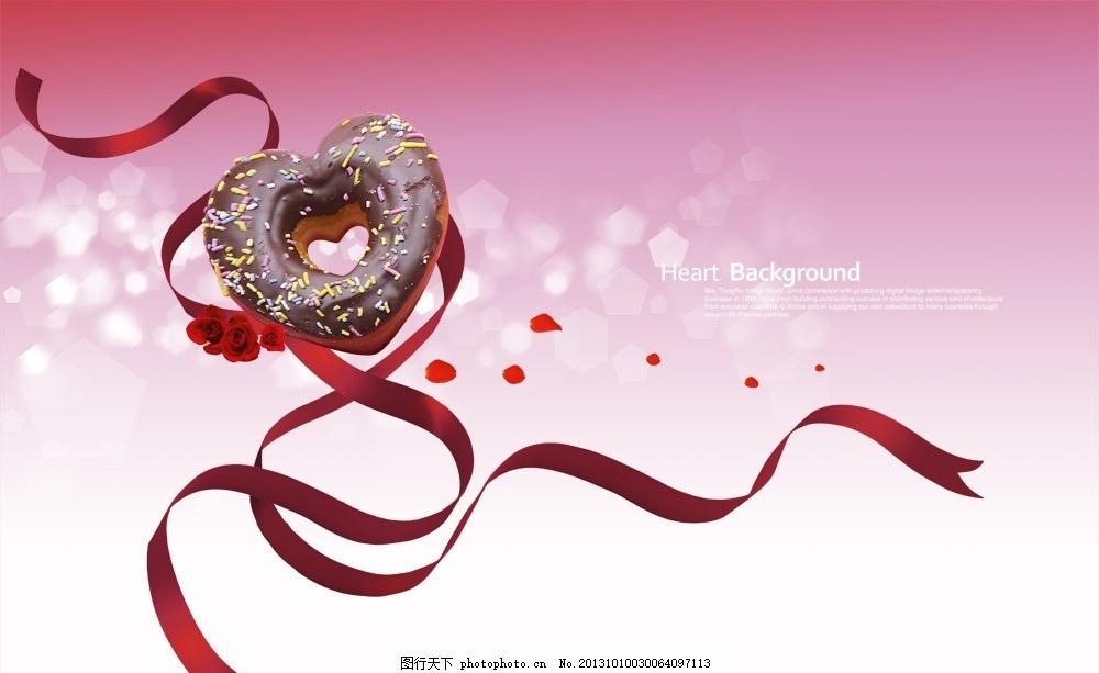 喜庆丝带巧克力海报 喜庆 丝带 心形 巧克力 海报 五角星 五边形 彩带