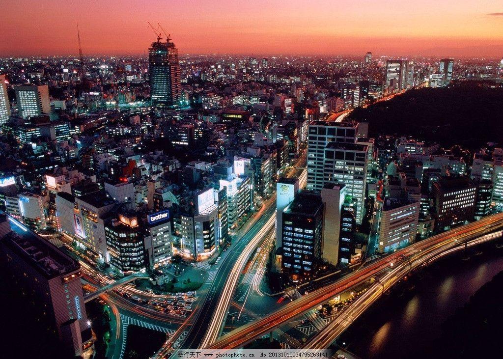 城市夜景 城市 夜景 美景 天桥 红霞 自然景观 房子 建筑 海报背景