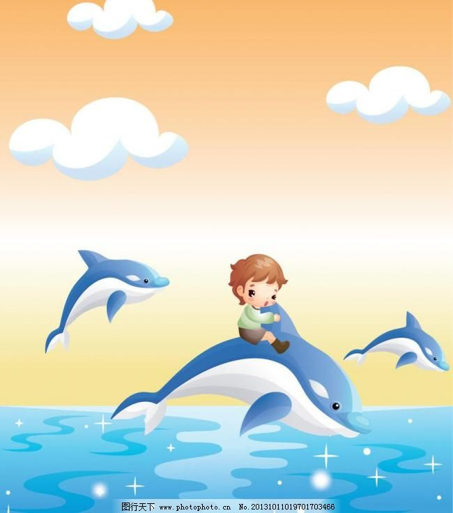 ai 背景 壁画 壁纸 插画 橱窗 底纹 动物 儿童 儿童幼儿 骑海豚的男孩