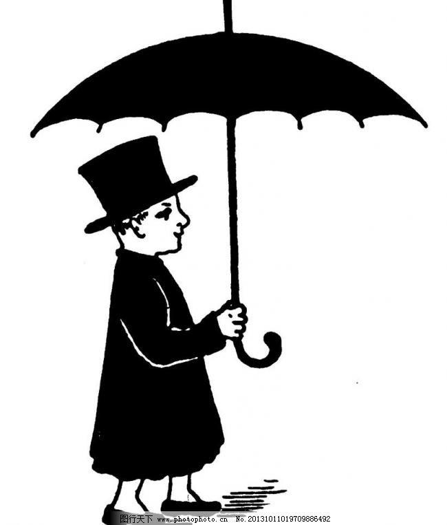 欧式原版人物花纹 欧式 原版 花纹 钢笔画 插画 黑白 人物 打伞 雨伞