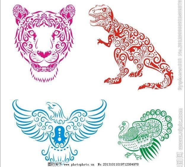 线稿 动物 花纹 剪影 动物插画 手绘 图案 图形 刺青 纹身 线条 老虎