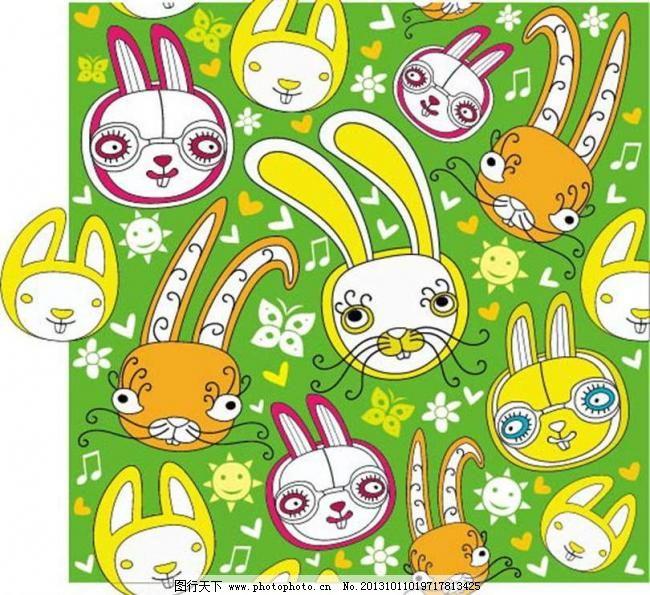 背景元素 插画 底纹背景 底纹边框 动漫 动漫设计 动漫玩偶 小兔子