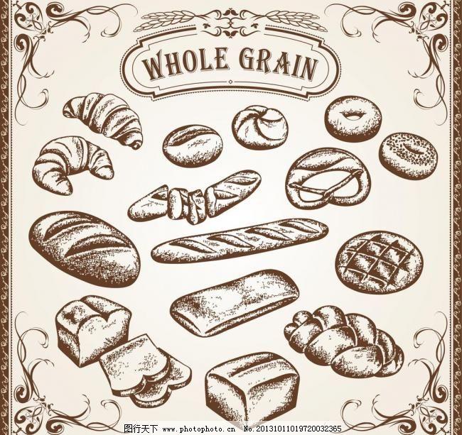 手绘面包图片
