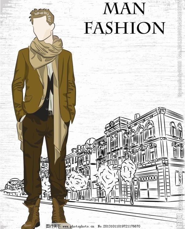 手绘街头时尚男模图片