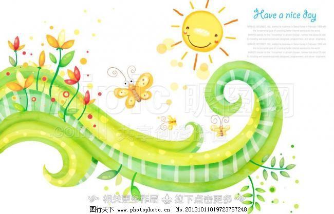 手绘植物 手绘太阳 手绘蝴蝶 绿藤 草藤 卡通插画 时尚插画 螺旋 旋转