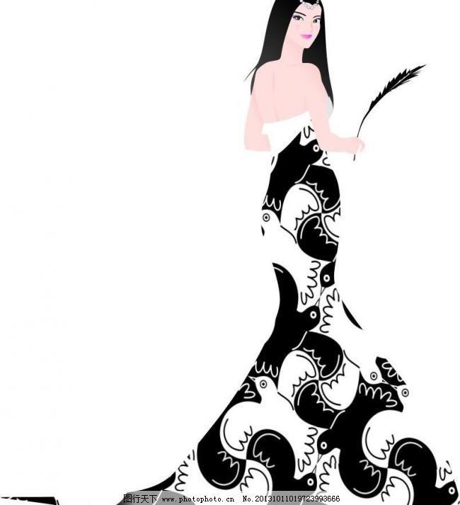 婚纱 简笔画 鳯袍美女矢量图 旗袍 古典美女 鳯袍 羽毛 黑白元素 手绘