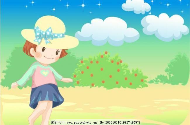 女孩图片自然风景漫画女生小卡通插画a女孩图片