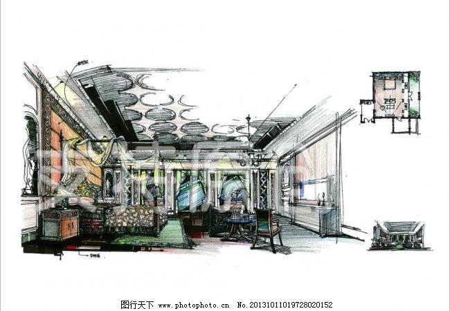手绘无框画 装饰画 抽象画 背景 玻璃 插画 橱柜 窗户 床 抽象画设计