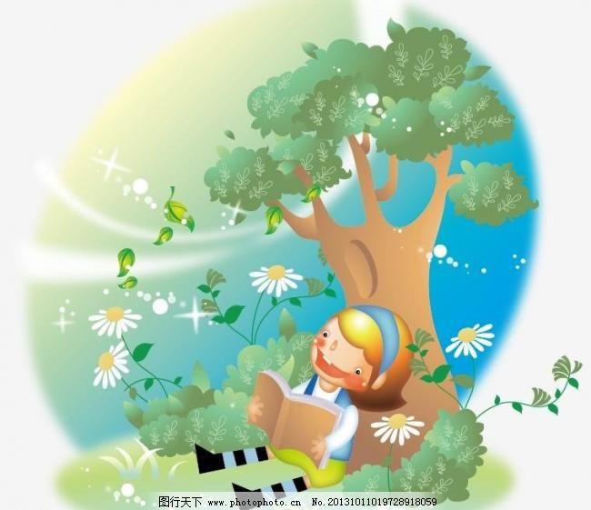 儿童插图 儿童画 儿童幼儿 儿童插画 风景 花草 梦幻 秋天 树叶 动物