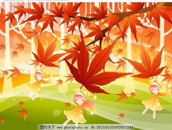 儿童插图 儿童画 卡通儿童插画 儿童插画 梦幻 秋天 树叶 动物 可爱