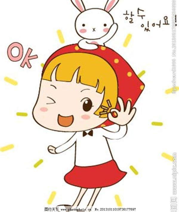 可爱小红帽 小红帽 小兔子 小白兔 卡通儿童 卡通小孩 插画 水墨 水彩