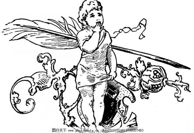 tif 插画 钢笔画 国外 黑白 花纹 绘画书法 女孩 欧美 欧式 欧式原版