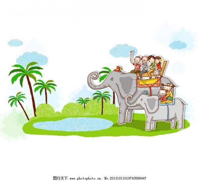 动物园矢量素材 动物园模板下载 动物园 大象 骑大象 游动物园 幸福一