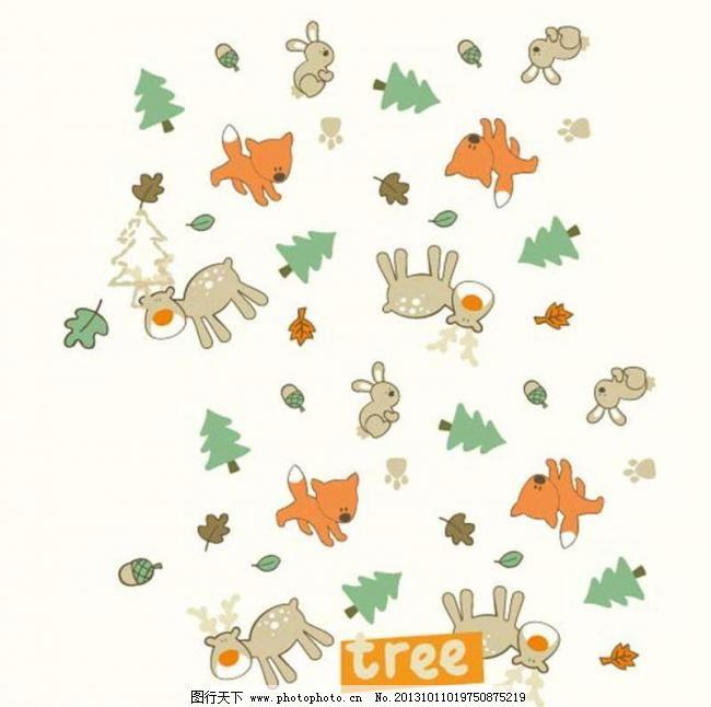 背景元素 插画 抽象背景 大树 底纹背景 底纹边框 动漫 小兔子 护理