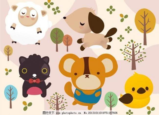 时尚背景 背景元素 图画素材 梦幻素材 花式背景 背景素材 卡通动物