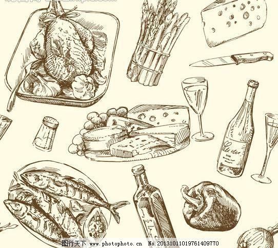 手绘食物 餐具 餐饮美食 插画 蛋糕 红酒 鸡 酒杯 咖啡厅 生活百科